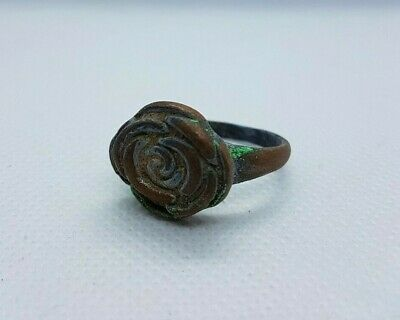 rare ancient bronze ring viking form flower artifact authentic museum quality