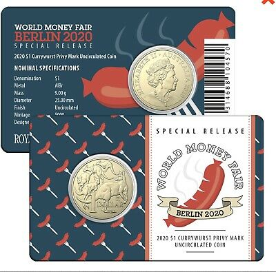 "2020 $1 Uncirculated Coin Berlin World Money Fair ""Currywurst"" Privy Mark"