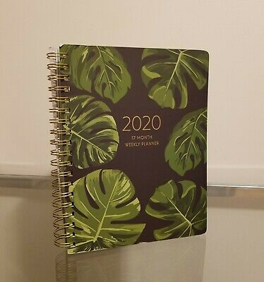 Fringe 2020 Planner Daily Monthly Agenda Black with Green Leafs Gold Binding NEW