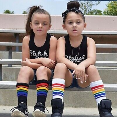 Kids Boys Girls Rainbow Striped Sock Soft Knee High Socks Student Sports Socks