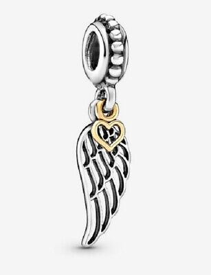 Pandora Sterling Silver Love and Guidance Angel Wing Heart with 14K Charm #79138