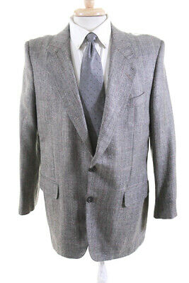 Hickey Freeman For Bergdorf Goodman Mens Plaid Suit Two Button Jacket Size 38