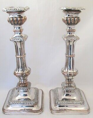 A Fine Pair of Tall Old Sheffield Plate Candlesticks c1830 Square Bases