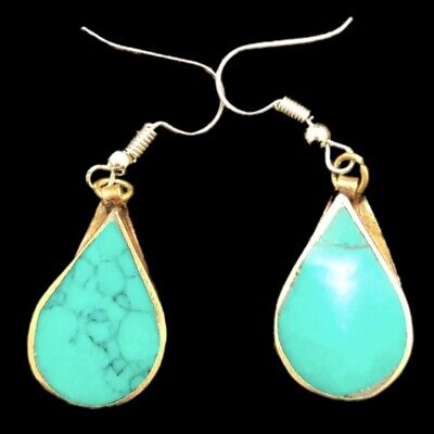 VERY RARE ANCIENT SILVER EARRINGS WITH GREEN STONES (Large Size) (2)