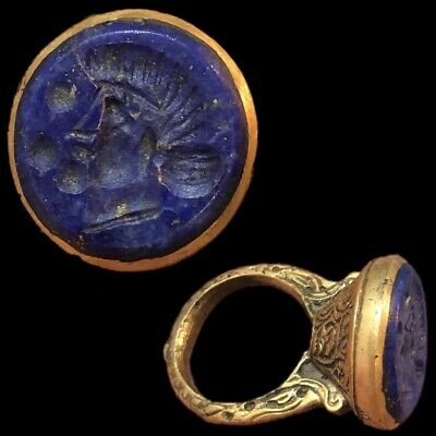 Stunning Top Quality Intaglio Seal Stone Ring With Lapis Stone (2)