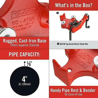 1/8 in. to 4 in. bc410p top-screw bench chain vise | ridgid model pipe base cast