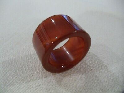 Chinese Hand Carved And Polished Burnt Orange Agate Archers Thumb Ring (Ca17)