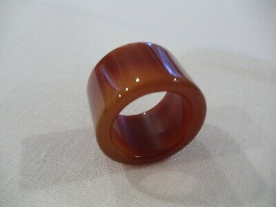 Chinese Hand Carved And Polished Burnt Orange Agate Archers Thumb Ring (Ca20)