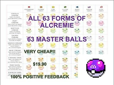 Pokemon Sword and Shield ALL 63 forms Alcremie 63 Master balls! On SALE! cheap!