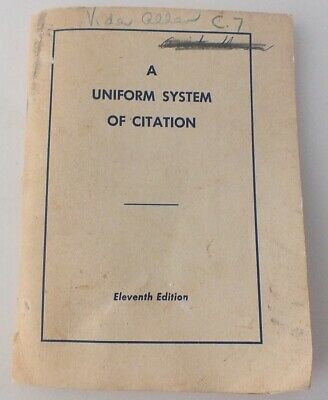 (The Bluebook) A Uniform System of Citation 11th Edition from 1972