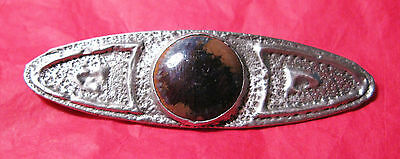 Fabulous Large Arts & Crafts Pewter Brooch With Agate Type Cabochon Vgc