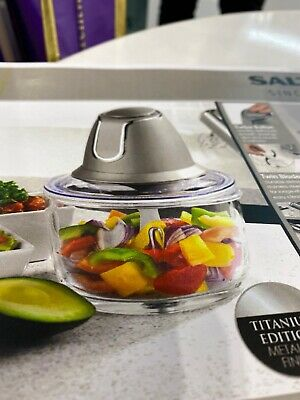 Salter TITANIUM Metallics Glass Chopper Titanium EK3264  new 500 W