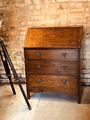 Vintage Wooden Bureau Writing Desk Shabby Chic Upcycle Project