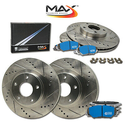 FRONT+REAR SET Z0066 Performance Cross Drilled Brake Rotors /& Ceramic Pads