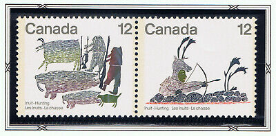 Canada #751a(1) 1977 12 cent INUIT HUNTING - HUNTERS OF OLD SE-TENANT PAIR MNH