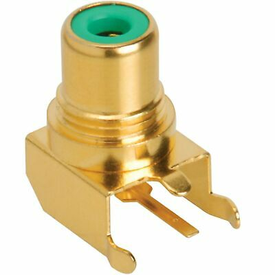 Factory Buyouts RCA Jack PCB Mount Gold Plated Right Angle Green