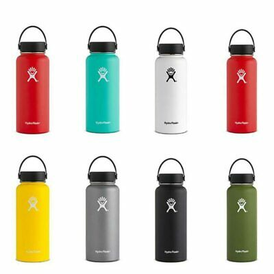 Hydro Stainless Steel Water Bottle Flask Insulated, Straw Lid Cap 18oz/32oz/40oz