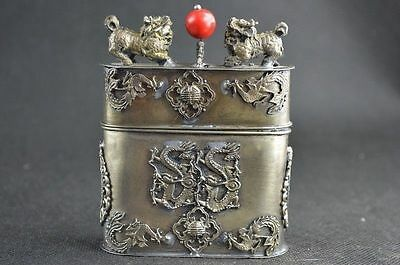 Old Collectibles Handwork Miao Silver Carving Kylin Dragon & Phoenix Tobacco BoN
