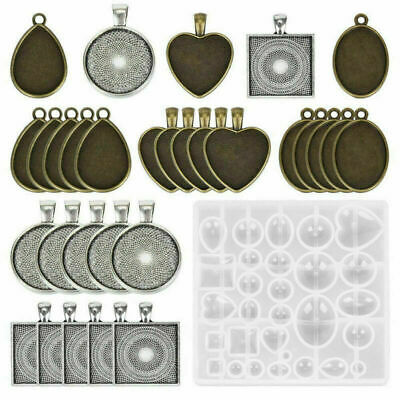 31x DIY Craft Resin Casting Molds Kit Silicone Mold Making Jewelry Pendant Mould