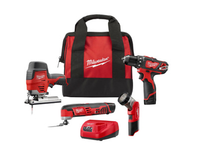 Milwaukee M12 Combo Tool Kit 4-Tool 12V Li-Ion Cordless Battery Charger Tool Bag