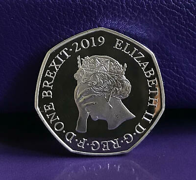 BREXIT Coin 50p Shaped Medal 2019 Original No Idea Design Unofficial Bu Proof