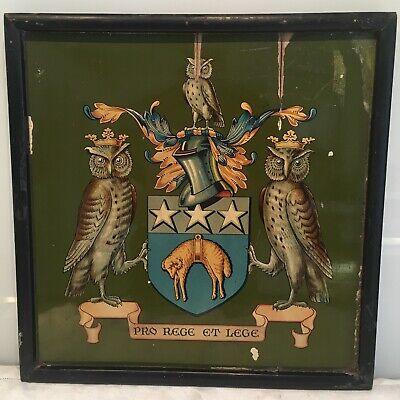 "Amtique Vintage Painted Armorial Panel ""pro Rege Et Lege"" Leeds Yorkshire Owls"