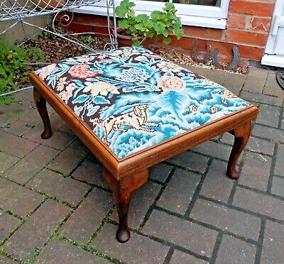Excellent Large Oak & Beech Cabriole Foot Stool~Fireside~Coffee Table~Tapestry