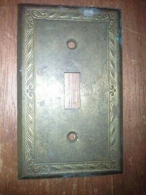 VINTAGE  Switch Plate  Cover   heavy solid Brass  detailed edge