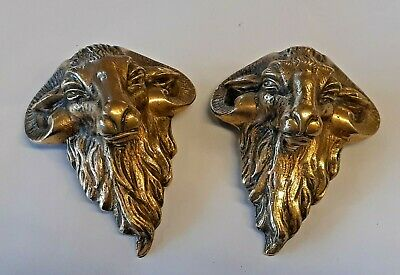 Antique Brass Rams Head Furniture Mounts