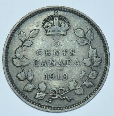 Canada George V 5 Cents, 1913 Silver Coin Vf