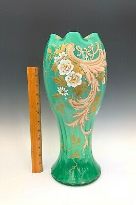 """Large Floral Hand Painted Green Bohemian Art Glass Vase 16"""" Harrach / Moser"""