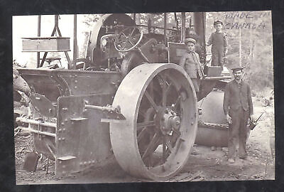 Real Photo Vintage Steam Tractor Roller Motor Farming Engine Postcard Copy