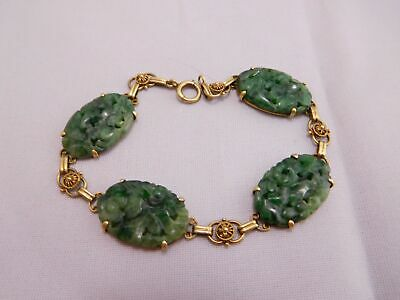Asian Antique Chinese Export 14K Gold Pierced Floral Carved Jade Stone Bracelet