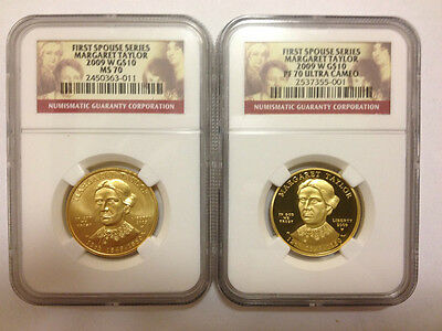2009  Margaret Taylor Ngc Pf 70 & Ms 70 First Spouse $10 Gold Coins *Low Pop*