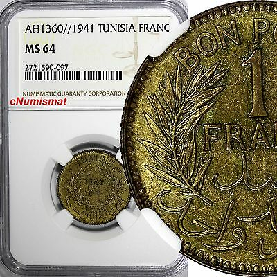 TUNISIA Anonymous Aluminum-Bronze AH1360//1941 1 Francs NGC MS64 TOP GRADE KM247