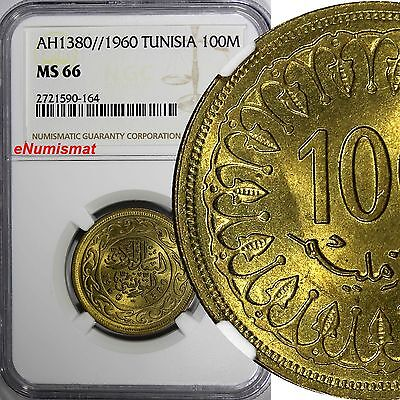 TUNISIA BRASS AH1380//1960 100 Millim NGC MS66 TOP GRADED BY NGC GEM BU KM# 309