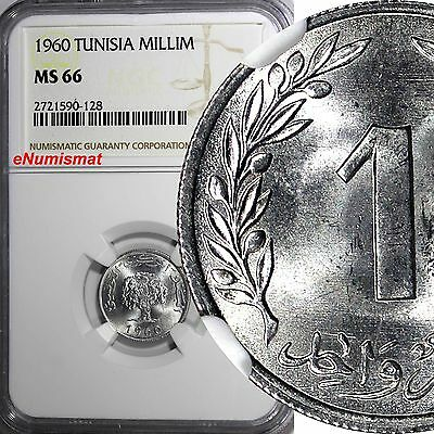 TUNISIA Aluminum 1960 1 Millim NGC MS66 GEM Oak tree TOP GRADED BY NGC KM# 280