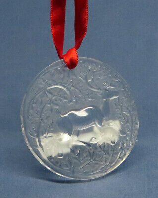 Lalique 2019 Reindeer Christmas Ornament Red #10685900
