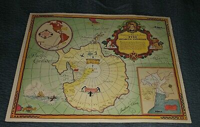 MAP VINTAGE 1934 SECOND BYRD ANTARCTIC EXPEDITION REPLICA POSTER PRINT PAM1451