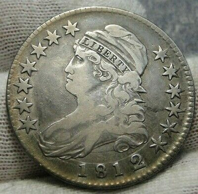 1812/1 Capped Bust Half Dollar 50 Cents - Nice Coin, Free Shipping (9058)