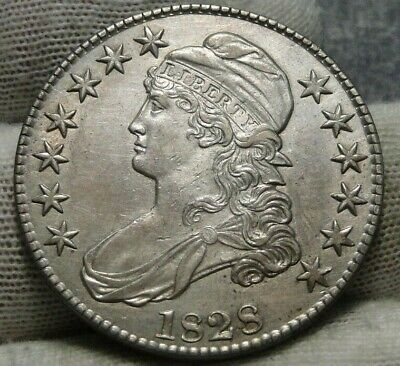 1828 Capped Bust Half Dollar - 50 Cents, Free Shipping Nice Coin  (9066)