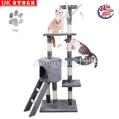 Cat Tree Sisal Scratching Post Kitten Scratcher Nest Tower High with Toy Grey