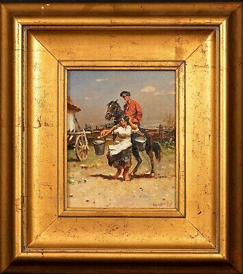 20th Century European School Cossack Courtship Signed Soldier & Lover Painting