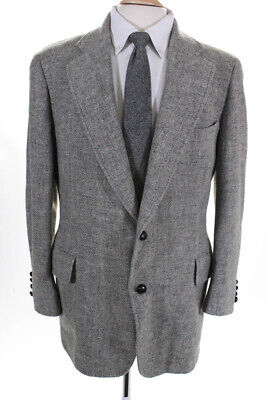 Paul Stuart Mens Two Button Tweed Woven Button Suit Jacket Light Gray Size 38