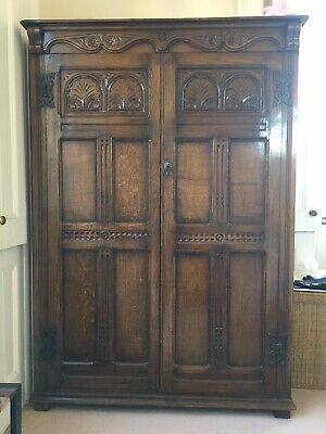 Beautiful antique carved oak wardrobe