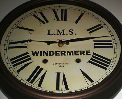 LMS Railway, London Midland & Scottish Wall Clock, Windermere Station.