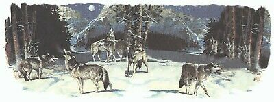 """1 Midnight Wolves Mug Cup Wrap  8-1/4"""" X 3"""" Waterslide Ceramic Decal Bx"""