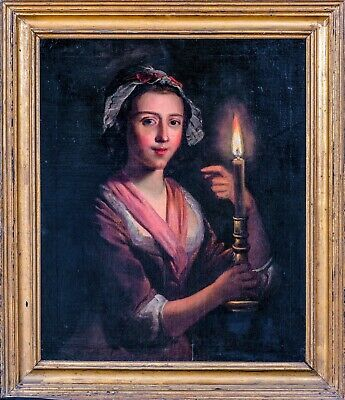 Fine Large 19th Century English Candle Portrait Lady Godfried VAN SCHALCKEN