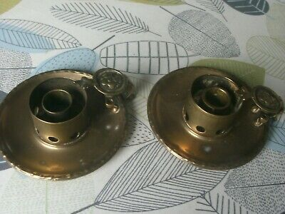 pair of brass arts & crafts chambersticks hole on handle for spill 12cm across