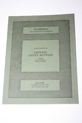 Old Sotheby's London Auction Catalogue - Chinese Snuff Bottles - 1978
